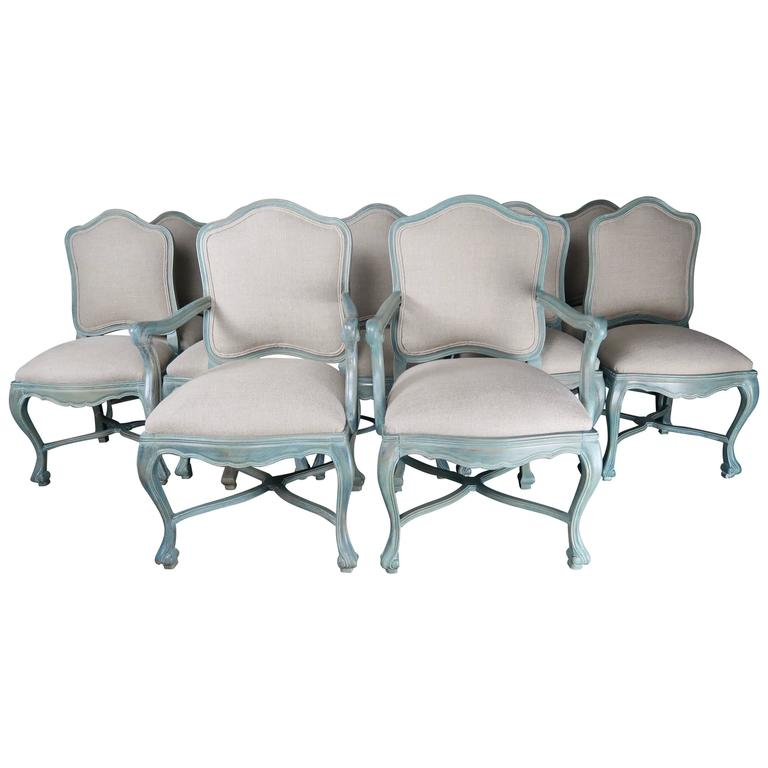 Set of 8 Louis XV Style Painted Dining Chairs, circa 1930s