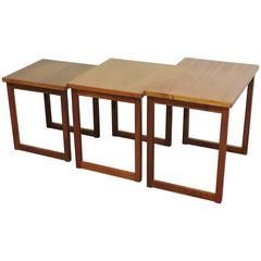 Mid-Century Danish Modern Teak Nesting Tables, Svante Skogh Style