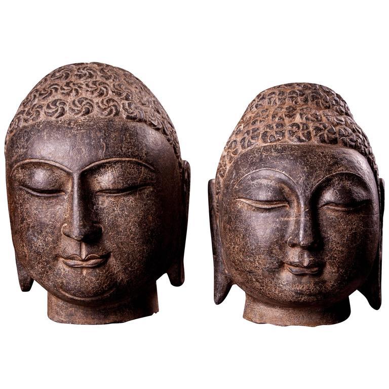 Male Shakyamuni Stones Carved Buddha Heads