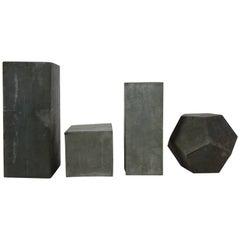 Set of Four Zinc Geometric Forms