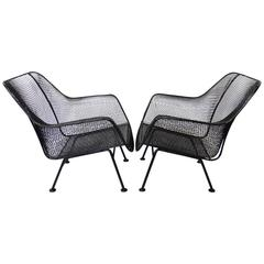 Nicely Restored Russell Woodard Wrought Iron with Steel Mesh Lounge Chairs