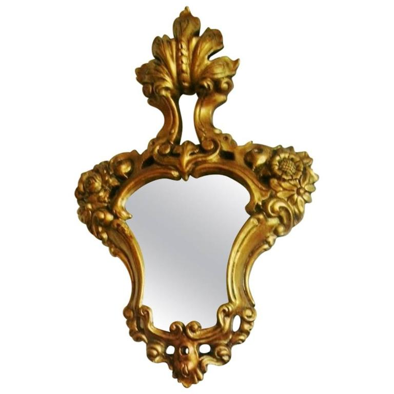 18th century italian baroque hand carved and gilt solid for Small baroque mirror