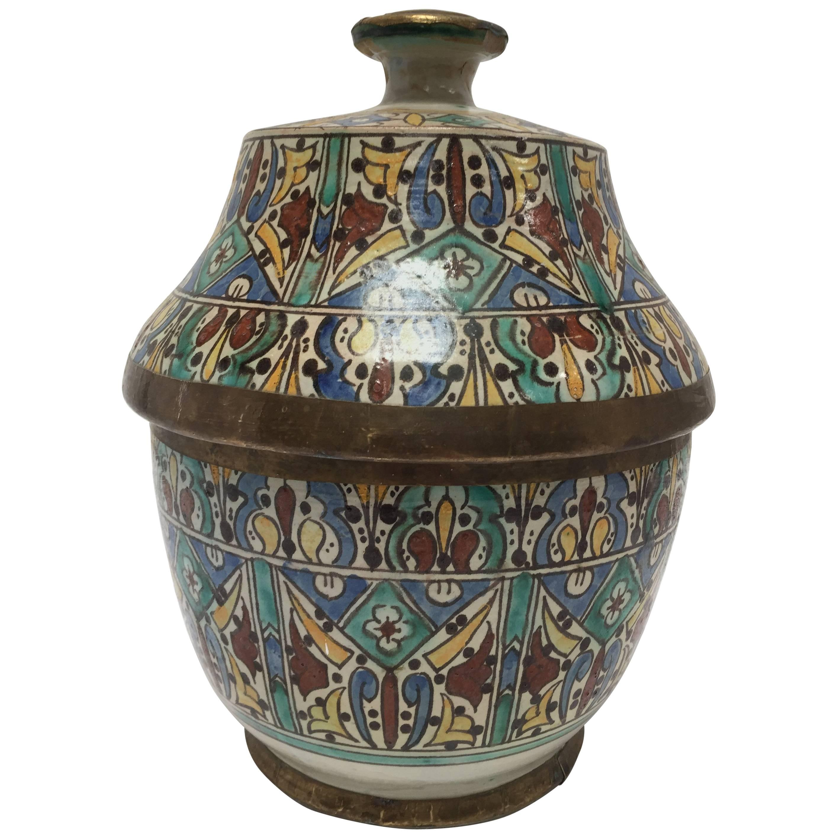 Moorish Ceramic Glazed Storage Tureen Jar with Cover Handcrafted in Fez Morocco