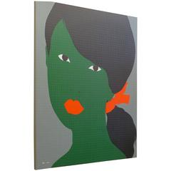 Contemporary Acrylic Painting - Green Female Face on Dotted Canvas 2010