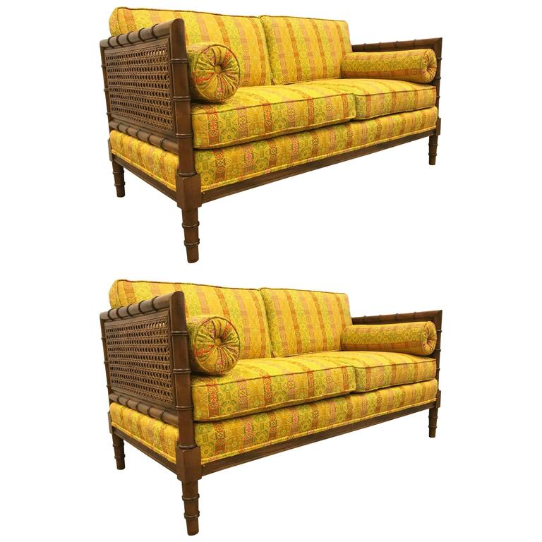 Pair of Hollywood Regency Wooden Faux Bamboo Sofas 1