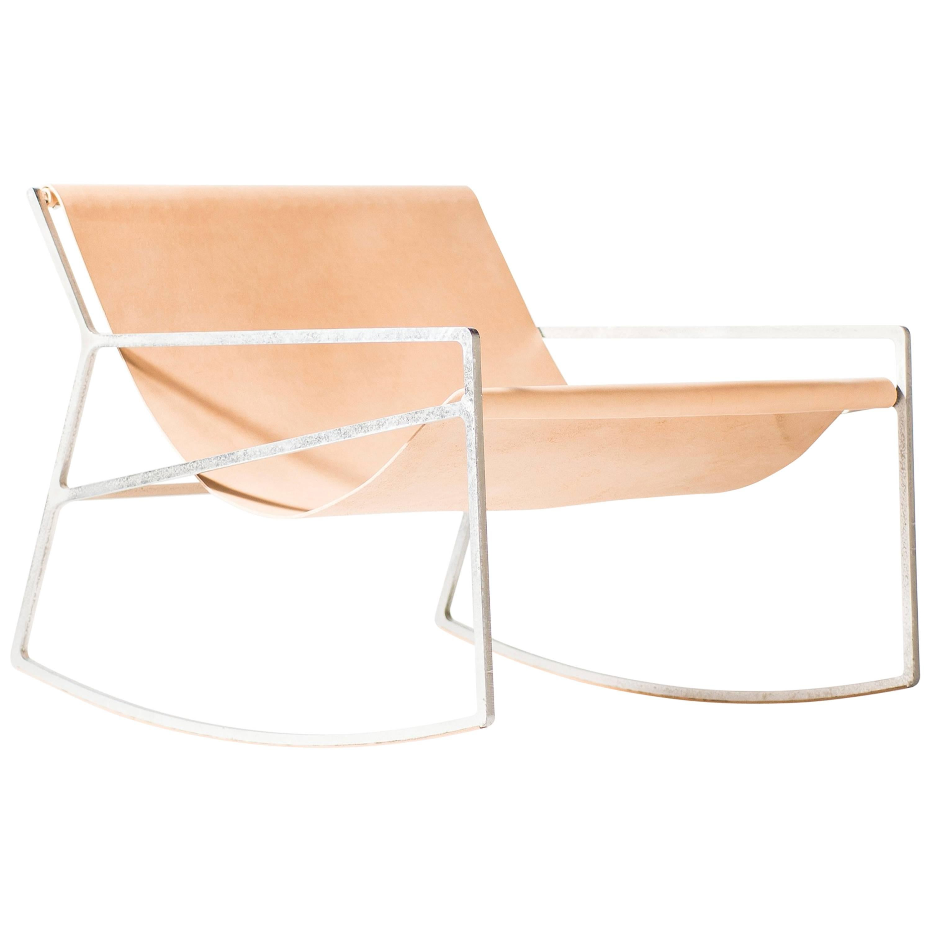 Rocking Chair In Galvanized Laser Cut Steel Frame And Veg Tan Leather Sling  1