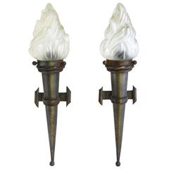 Pair of Arts and Crafts Wall Lights French Torchère Sconces Porch Lights