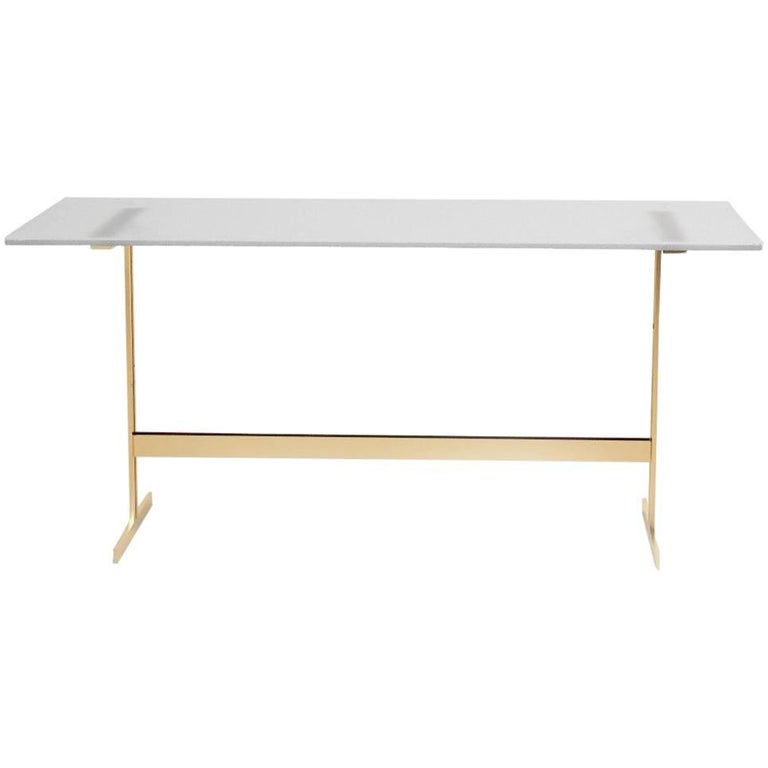 Modern Home Office Desk Table Glass or Italian Marble and Bass-Plated