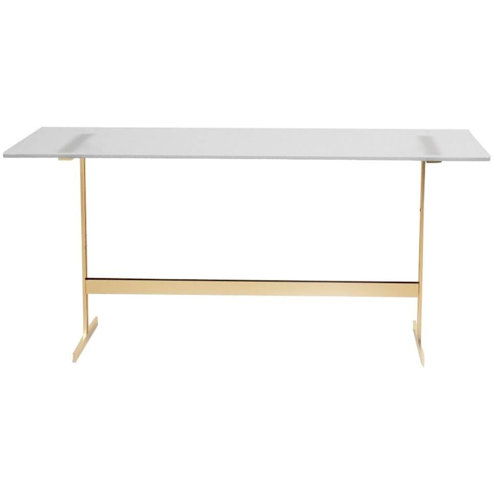 Charming Modern Home Office Desk Table Glass Or Italian Marble And Bass Plated For  Sale