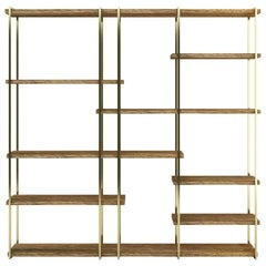 Modern Shelves in Brass and Natural Oakwood