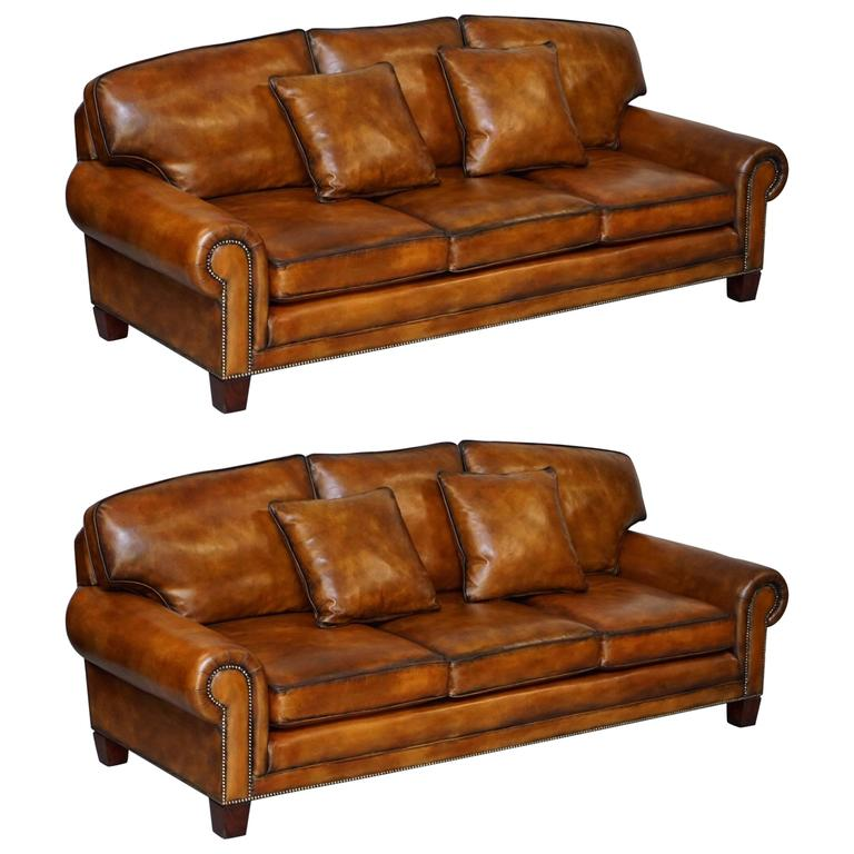 New Couches For Sale: Pair Of Brand New Ralph Lauren Jamacia Hand Dyed Brown