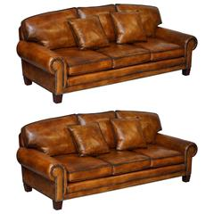 Pair of Brand New Ralph Lauren Jamacia Hand Dyed Brown Leather Four-Seat Sofas