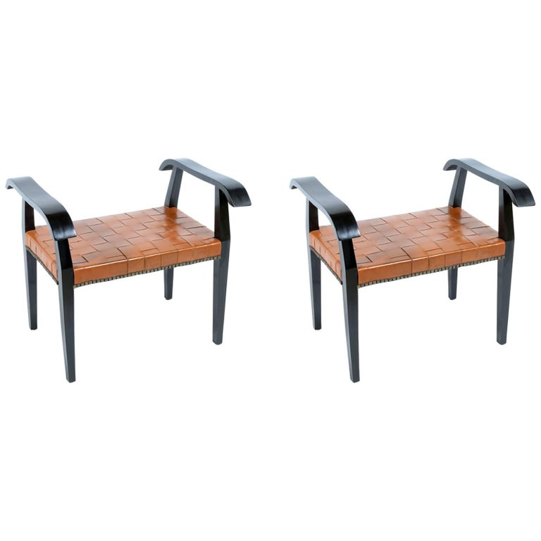 Pair of 1940s Italian Stools with Original Braided Leather Seat For Sale
