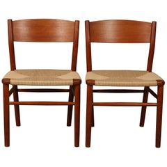 Børge Mogensen Model 157 Dining Chairs Teak with New Woven Seats