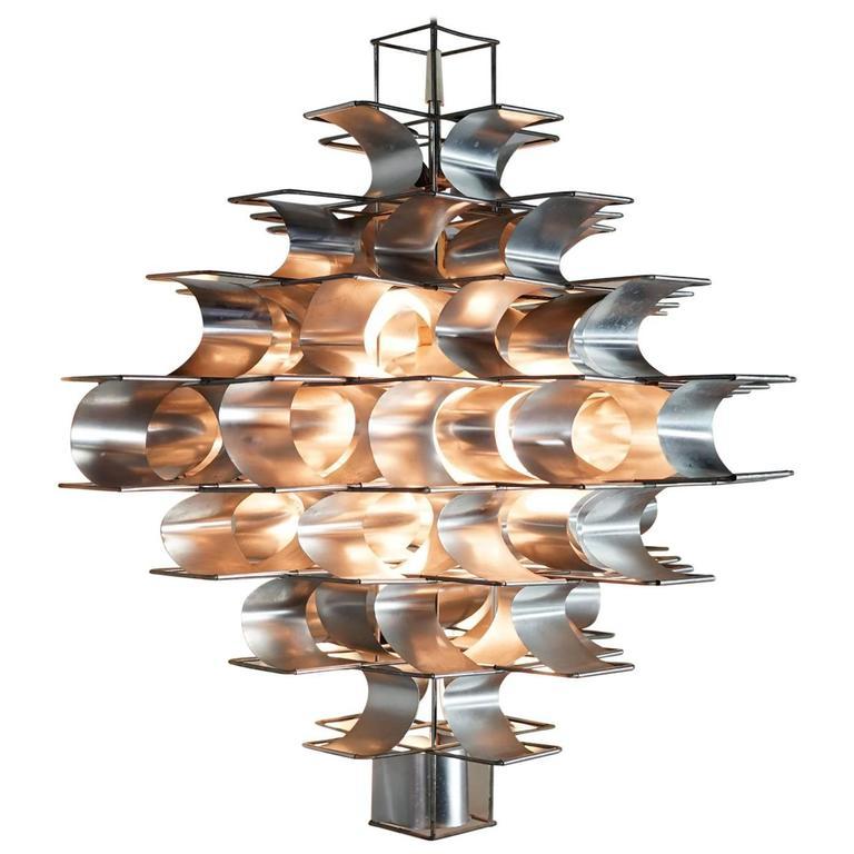 Max Sauzé, Large Cassiopée Chandelier Lamp, 1972 by Sauzé Studio Paris