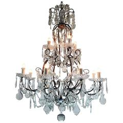Italian Twelve-Light Two-Tier Antique Crystal and Iron Chandelier, circa 1910