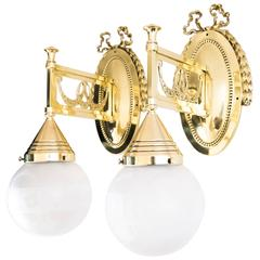 Two Beautiful Jugendstil Wall Lamps with Original Glass