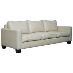 Ralph Lauren Graham Cream Leather Sofa Fully Restored Feather Cushions