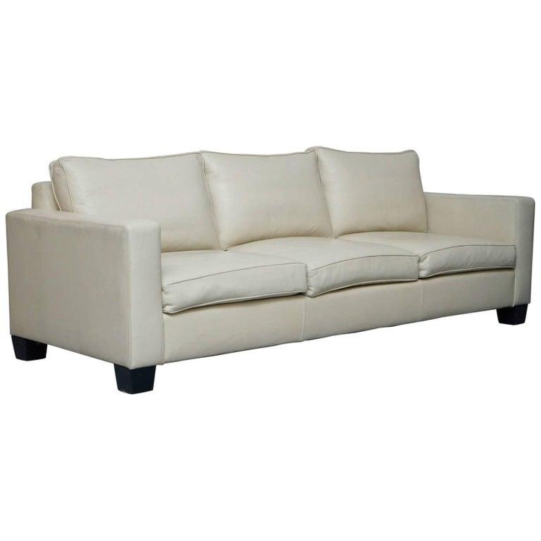 Ralph Lauren Graham Cream Leather Sofa Fully Restored Feather Cushions