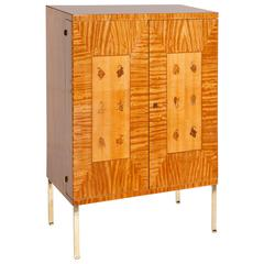Mid-Century Italian Bar Cabinet Lemonwood with Fine Mediterranean Inlays