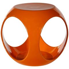 Vintage Orange Fiberglass Side Table