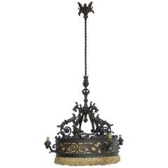 Mid-19th Century Spanish Iron Chandelier