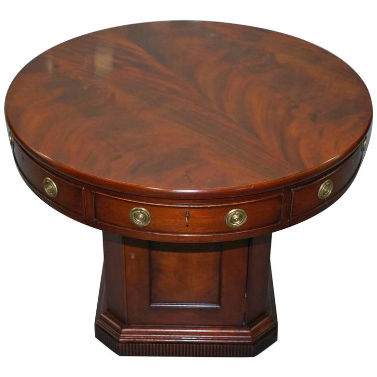 Ralph Lauren Regency Flamed Mahogany Drum Round Pedestal Library Table