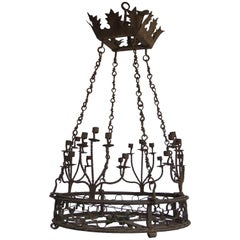 Early 19th Century, Italian Iron Chandelier with Candleholders