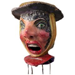 20th Carnival Head from Nice 1960s Made of Papier Mâché and Cardboard