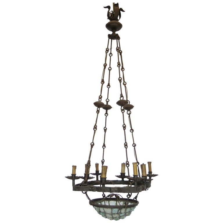 19th Century Gaudi Style Iron Chandelier with Rock Crystal Bowl For Sale