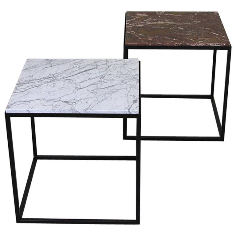 Pair of Contemporary Marble Side Tables