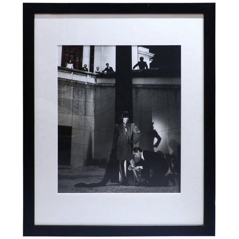 helmut newton framed poster fashion yves saint laurent french vogue paris at 1stdibs. Black Bedroom Furniture Sets. Home Design Ideas