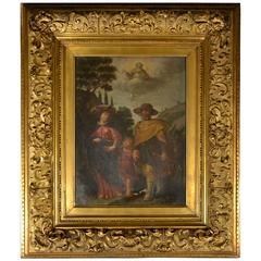 Old Master Painting Flight into Egypt Flemish School, 17th Century