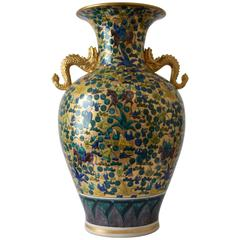 Massive Japanese Green Gilded Hand-Painted Porcelain Vase, Circa 1980