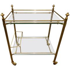 Mid-20th Century French Brass Drinks Trolley