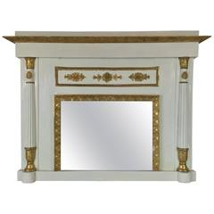 Early 19th Century Italian Neoclassical Mirror Ivory and Giltwood Overmantel