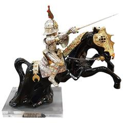 20th Century Made in Italy Sterling Silver Horse and Knight Armour
