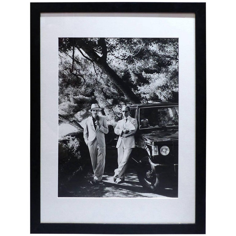 helmut newton framed poster karl lagerfeld and jacques de bascher eze 1985 at 1stdibs. Black Bedroom Furniture Sets. Home Design Ideas