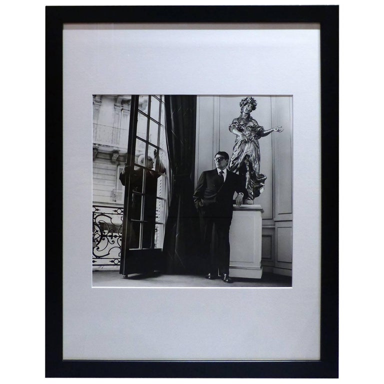 helmut newton framed poster yves saint laurent and pierre berg paris 1996 for sale at 1stdibs. Black Bedroom Furniture Sets. Home Design Ideas