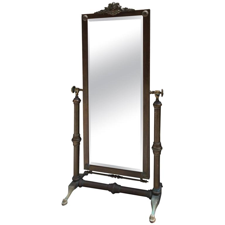 Glo Mar Artworks Brass Cheval Mirror At 1stdibs