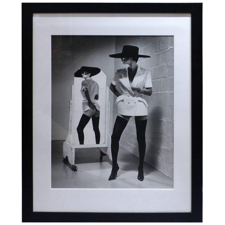 helmut newton framed poster willi fashion mugler french vogue paris 1996 at 1stdibs. Black Bedroom Furniture Sets. Home Design Ideas
