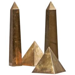 Vintage Italian Brass Table Sculpture Obelisks Pyramids Mid-Century Collection