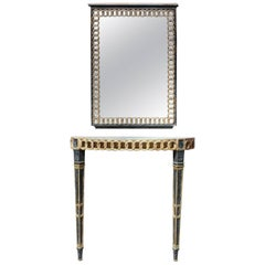 Italian Palladio Parcel Paint and Gilt Demilune Console and Mirror