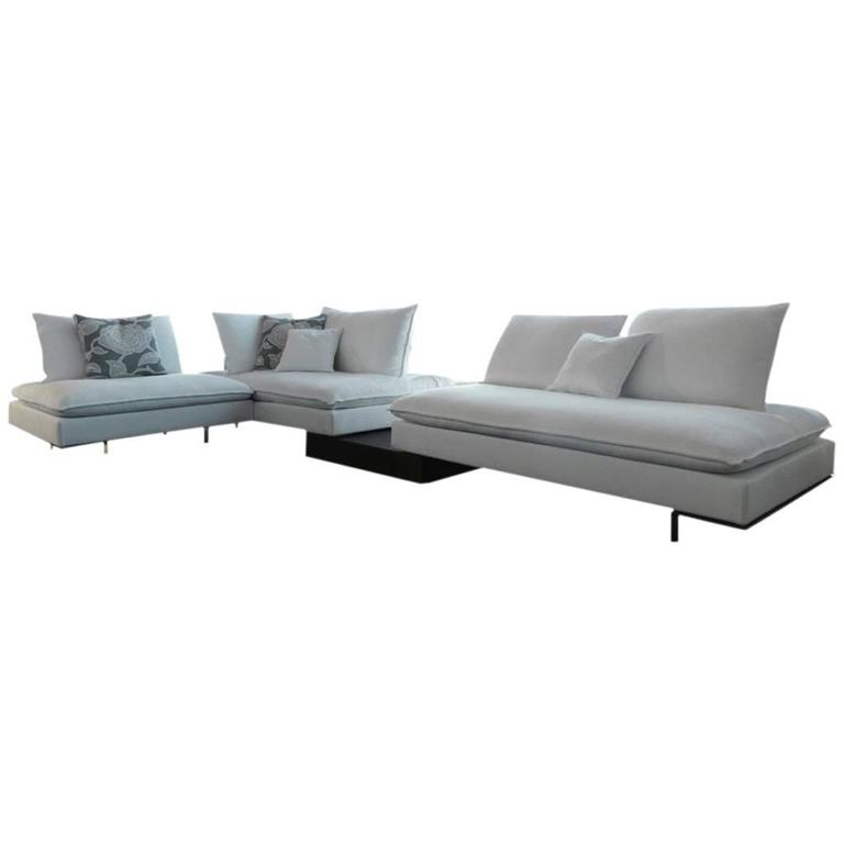 Italian Modular Sectional Sofa with Wooden Details and Bench Modern Design 1