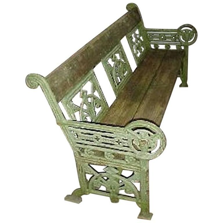 A Cast Iron 'OWL' Garden Bench in the Style of Dr C Dresser by Falkirk Ironworks