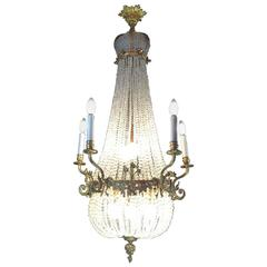 19th Century French Empire Chandelier Ormolu Beaded Crystal Ten-Light Pendant