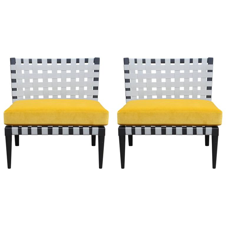 Pair of Modern Vincent Wolf Grey Strap Chairs in Yellow Velvet by Niedermaier