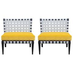 Pair of Modern Vincent Wolfe Grey Strap Chairs in Yellow Velvet by Niedermaier