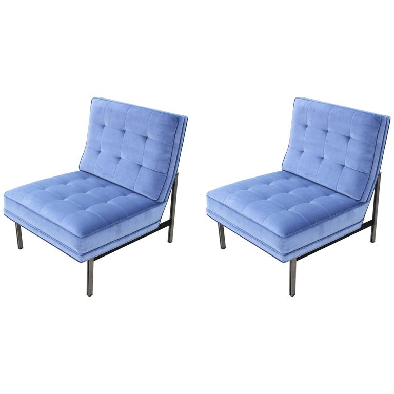 Pair of Modern 1960s Knoll Parallel Bar Lounge Chairs in Periwinkle Blue Velvet