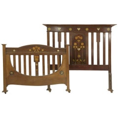 Exceptional Double Bed by Shapland & Petter with Stylised Floral Inlays